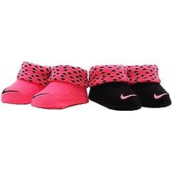 Nike Infant Baby Girl's Swoosh Pink Polka Dot Crib Shoes Booties Sz. 0-6 Months