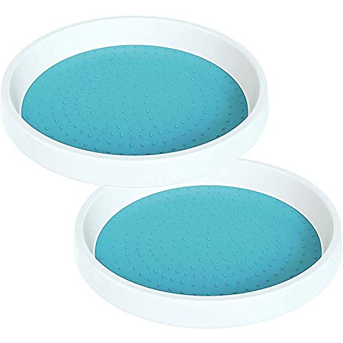 Home Intuition Lazy Susan Turntable Non Skid for Cabinets and Pantry, Turquoise, 2 Pack