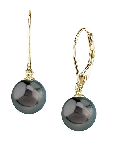 THE PEARL SOURCE 14K Gold 8-9mm Round Genuine Black Tahitian South Sea Cultured Pearl Leverback Earrings for Women ()