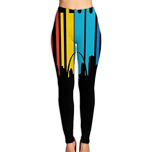 Women's Yoga Pants Retro 1970's St. Louis Missouri Skyline Perfect Capris Leggings White