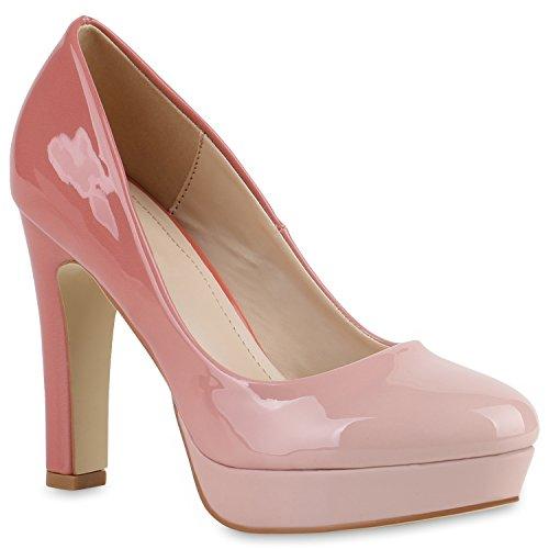 Stiefelparadies Damen High Heels Plateau Pumps Lack Partyschuhe Metallic Veloursleder-Optik Schuhe Blockabsatz Plateauschuhe Flandell Rosa Lack