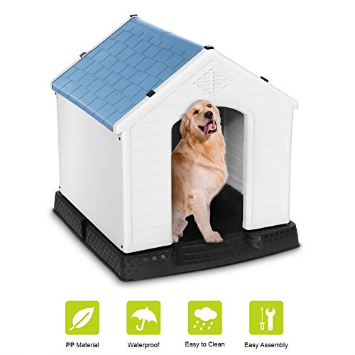 Plastic Dog House Waterproof Dog Kennel Pet House for Indoor Outdoor Use Dog Favorite House,Medium Size For Sale