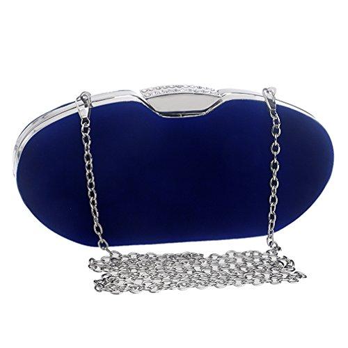YAN Frauen Abendtasche, 2018 New Fashion Clutch Handtasche für Parteien/Hochzeit/Club mit abnehmbaren Kette rot schwarz blau (Color : Blue) Blue