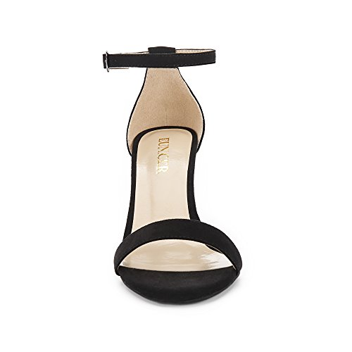 Stiletto With Ankle High Shoes Women's Black Eunicer Sandals Suede Strap Heel Wedding Party qR4tpFxwX