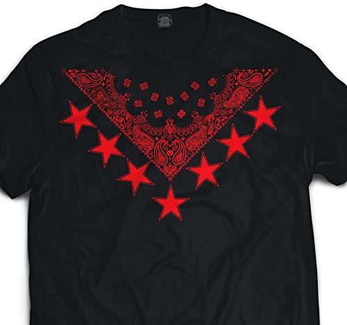 CaliDesign Men's Bandana Star Print T Shirt Urban Wear Hip Hop Gear Tee Black - Red Dope