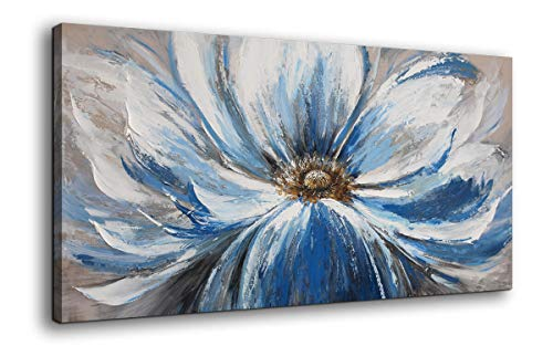 Mofutinpo Flower Canvas Wall Art for Living Room Large White Blue Flower Picture Giclee Print Painting Wall Decor Framed Artwork Ready to Hang for Home Bedroom Wall Decoration Size 24x48 ()