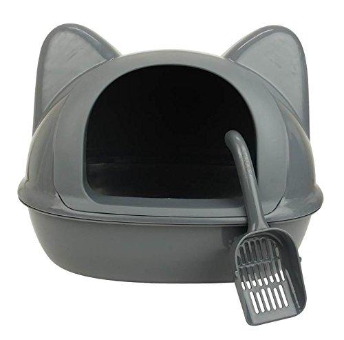 Maison de toilette - Maison de Toilette Tête de Chat 52 x 40 x 36 cm Gris Wouapy
