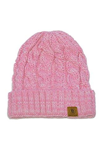 BASICO Unisex Warm Chunky Soft Stretch Knit Slouch Beanie Cap Hat (1714 Melange Pink)