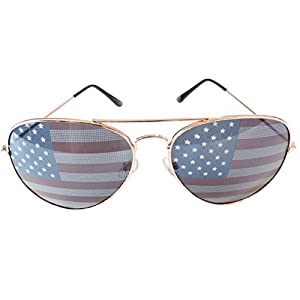 American Flag Aviator Sunglasses Stars Stripes Sunglasses Unisex Sunglasses UV400 Protection (Gold, USA Flag)