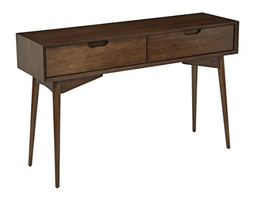 Office Star Copenhagen Mid-Century Modern 2 Drawer Console Table Walnut Finish - 2 Drawer Office Console Table