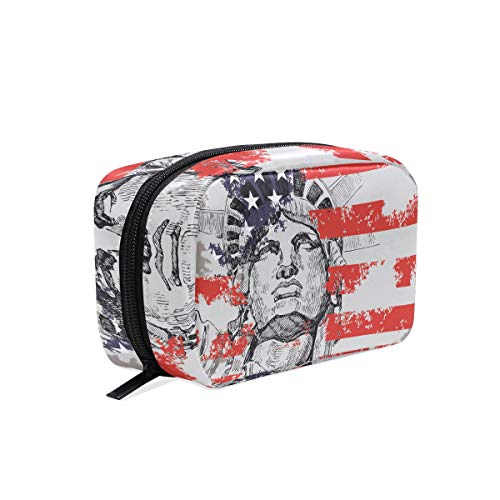 Makeup Bag American Flag Statue Of Liberty Cosmetic Pouch Clutch