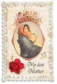 Lace Holy Prayer Card with Silk Rose Flower Keepsake Blessed Mother Virgin Mary