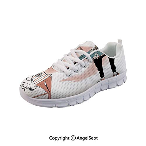 SfeatruAngel Lightweight Casual Cat Dog Characters Musician Boy Breathable Mesh Shoes