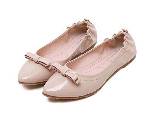 Color Apricot Slip embarazada Toe Flats Elástica On mujer 35 Bowknot Mujer Soft Jelly Loafer 40 Eu Pure de Cómodo punta Bomba Tamaño zapatos Ballerina Zapatos Banda Bottom RFwzIqWPnP