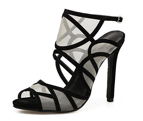 Festa Tacco UK 3 L Sexy Stiletto Scarpe Sbirciare openwork 5 Dito Nero alto XIE piede Vestito Filato EUR netto 4 Donna 36 sandali del Discoteca BBq1wzax