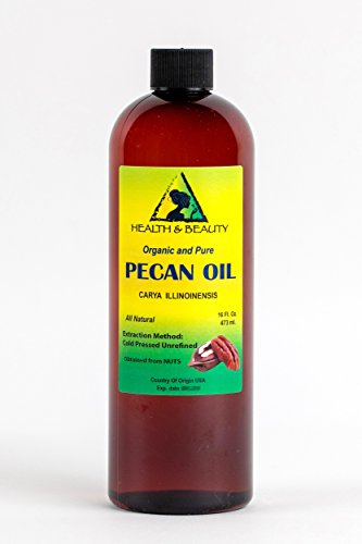 Pecan Oil (Pecan Oil Unrefined Organic Carrier Cold Pressed Virgin Raw Premium Pure 16 oz)