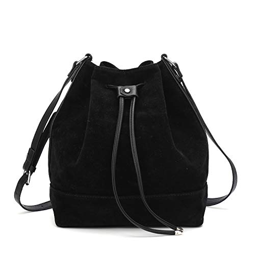 (Drawstring Bucket Bag for Women Large Crossbody Purse and Shoulder Bag Suede Tote Handbags)
