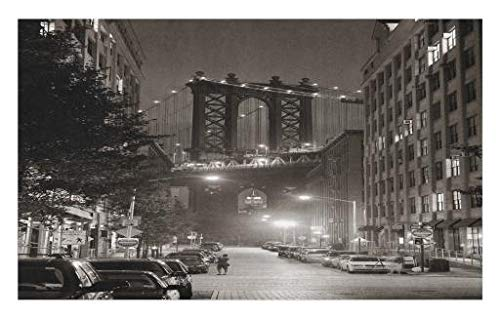 Lunarable Urban Doormat, Manhattan Bridge from Street at Night Downtown New York States United States Photo, Decorative Polyester Floor Mat with Non-Skid Backing, 30 W X 18 L inches, Army Green