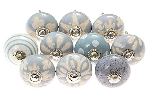 Set of 10 blue/grey/white Vintage Hand-Painted Ceramic Knobs/Door Pulls and Drawer Knobs ()