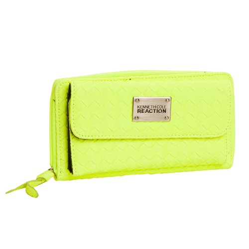 Kenneth Cole Reaction Neon Yellow Weaved Urban Organizer Wallet, Bags Central