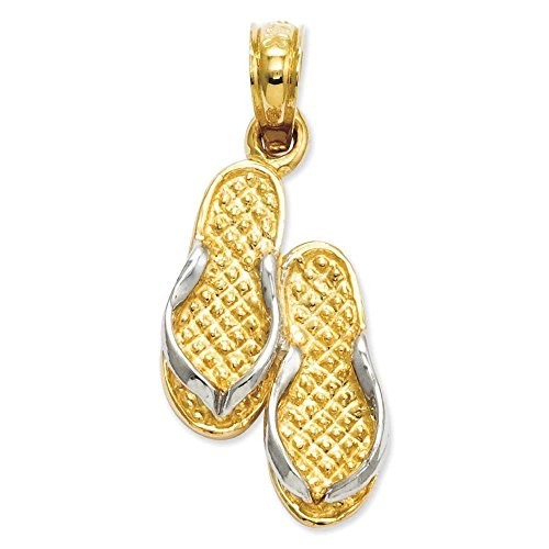 - 14k Yellow Gold & Rhodium-plated Solid Polished Sandals Charm Pendant 22mmx10mm