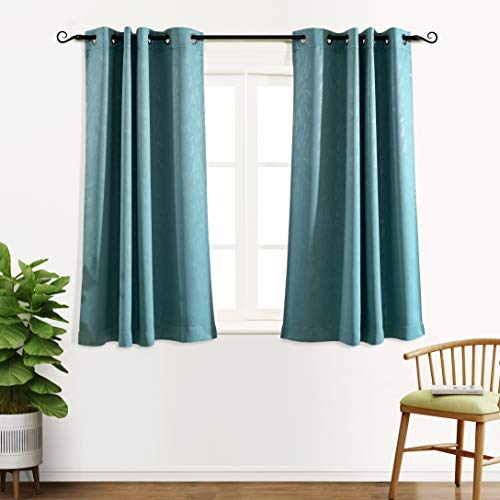 MYSKY HOME Curtains 63 Inch for Bedroom Thermal Insulated Leaf Embossed Design Grommet Blackout Curtains for Living Room (Teal, 52