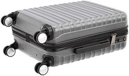AmazonBasics - Maleta rígida de alta calidad, con ruedas y cerradura TSA incorporada, 55 cm, gris, apto para la mayoría de las aerolíneas de bajo coste