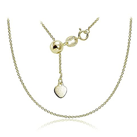 Gold over Sterling Silver 1.5mm Rolo Adjustable Chain Necklace 20 Inches (Men Gold Over Silver Chain)