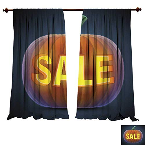 DragonBuildingMaterials Blackout Curtain Panels Halloween Pumpkin with Carving Multi-Function Noise Reducing Performance