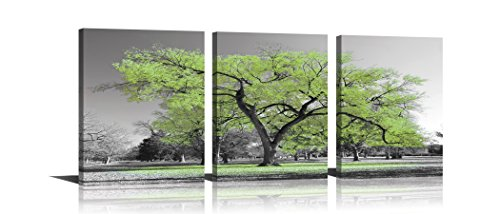 Youk-art Canvas Print Wall Art Painting Contemporary Teal Tree In Black And White Style Fall Landscape Picture Modern Giclee Stretched And Framed Artwork (Size 16x36inch) Gift For Bathroom Bedroom (Canvas Photo)