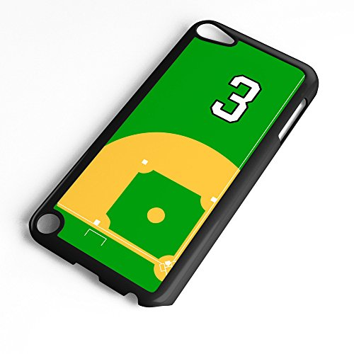 iPod Touch Case Fits Generation 6 Baseball Diamond Pitchers Mound Home Plate Any Custom Jersey Number 3 Black Plastic (Mound Plate Pitchers Home)