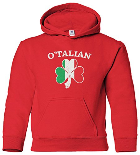 Threadrock Kids O'Talian Italian Irish Shamrock Youth Hoodie Sweatshirt S Red