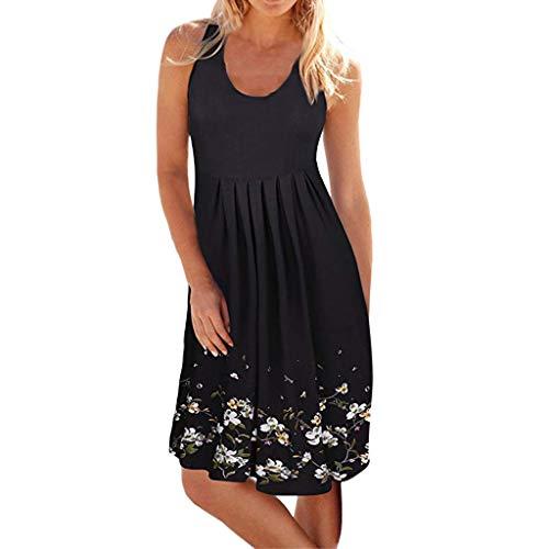 - Women Casual Pleated Losse Summer Solid Sleeveless Scoop Neck T-Shirt Midi Tank Dress Sundress (M, Black-2)