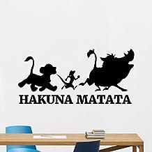 Hakuna Matata Wall Decal Lion King Vinyl Sticker Disney Cartoons Wall Art Timon Pumbaa Nursery Modern Design Kids Room Decor Housewares Bedroom Decor Removable Wall Mural 163xxx