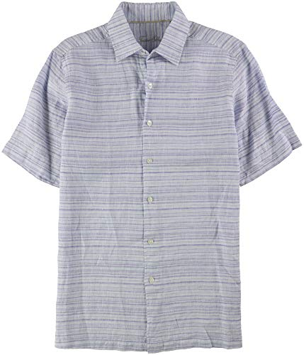 Tasso Elba Men's Matisse Stripe Linen Shirt (Purple Combo, S)