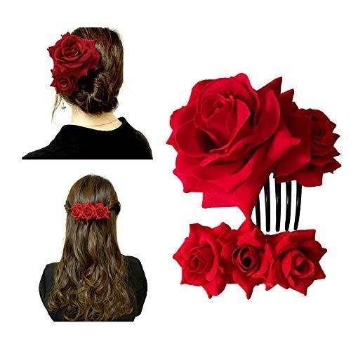 Xetahomyx 2 Pack Velvet Rose Hair Clip Flower Hair Comb Flamenco Dancer Hair Accessories for Women Wedding, Red