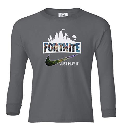 Qasimoff Just Play It Boys Girls Youth T-Shirt (Gray, Youth Medium) (Only Youth Medium T-shirt)