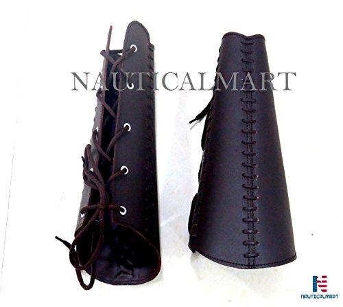 Medieval Squire Costume (NAUTICALMART Black Leather Squire Bracers)