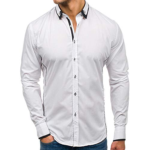 ZEFOTIM Men Shirt Fashion Solid Pure Color Joint Male Casual Long Sleeve Shirt (X-Large,White)