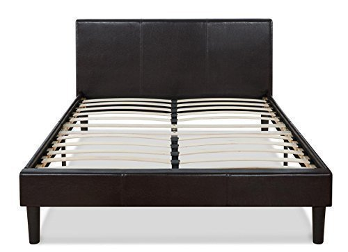 Faux Leather Upholstered Platform Bed with Wooden Slats, Full (Platform Bed Faux Leather)