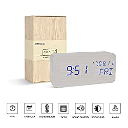 Digital Clock---FiBiSonic Wood Led Clock Voice/Touch Control Desk Silent Modern Style Alarm Clock White Clock Display Time,Date and Temperature,Best Gifts for Friends/Heavy Sleepers