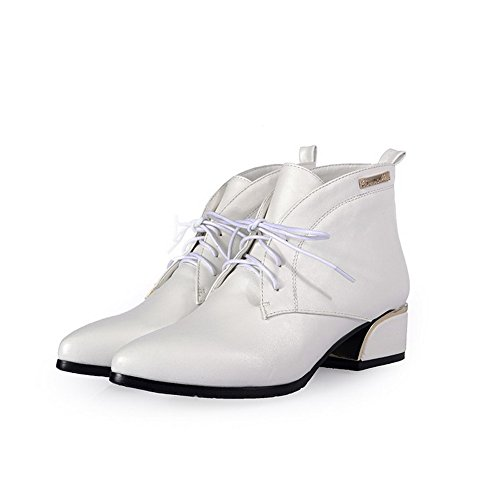 Low Women's Toe PU Blend Low Closed Pointed Materials Allhqfashion White Boots top Heels g04Ydwxq0n