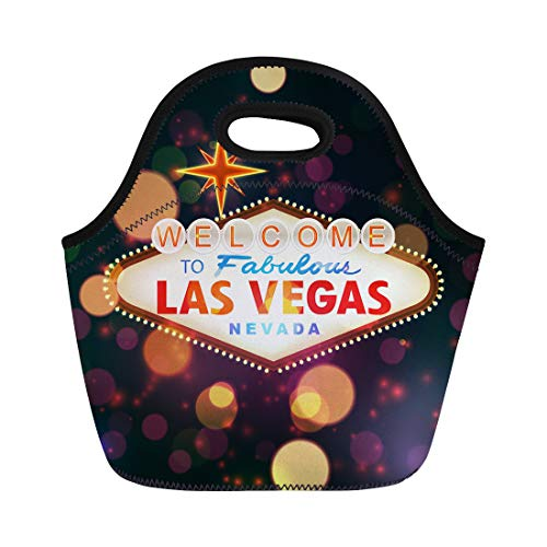 Semtomn Lunch Tote Bag Night Welcome to Las Vegas Sign Bokeh Casino Party Reusable Neoprene Insulated Thermal Outdoor Picnic Lunchbox for Men Women