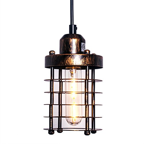 Pauwer Rustic Mini Cage Pendant Light Industrial Vintage Edison Hanging Pendant Lamp Metal Wire Cage Shade (Rust)
