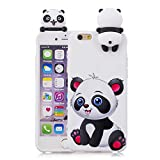 3D Cartoon Animal Case for iPhone 6,Yobby iPhone 6S Cute Kawaii Pattern Case Slim Soft Flexible Rubber Silicone Shockproof Protective Back Cover-White Panda