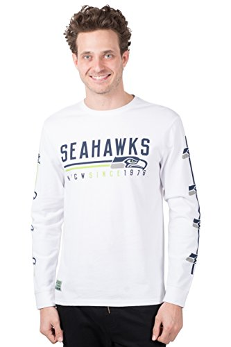 ICER Brands Adult Men T Active Basic Long Sleeve Tee Shirt, White, Large (Seattle Seahawks Shirt)