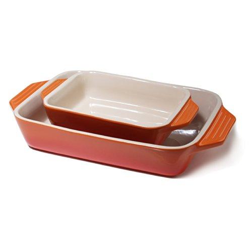 (Le Creuset Stoneware Flame 2 Piece Rectangular Casserole Dish Set)