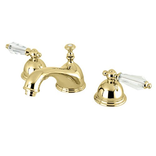Kingston Brass KS3962WLL Wilshire Widespread Lavatory Faucet with Crystal Lever Handle, Polished ()