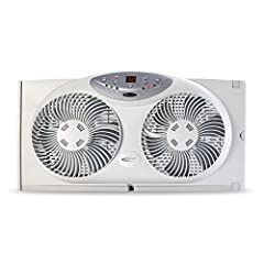 Create a more comfortable environment in your home with the Bionaire Twin Reversible Airflow Window Fan with Remote Control. Twin fan blades with independent settings allow this window fan to draw in fresh air from outside, exhaust hot air fr...