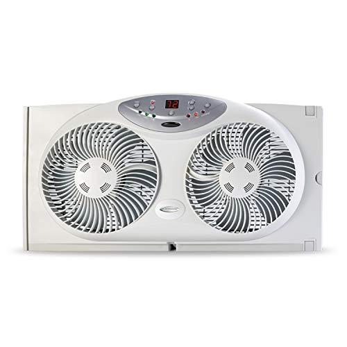 (Bionaire Window Fan with Twin 8.5-Inch Reversible Airflow Blades and Remote Control, White)